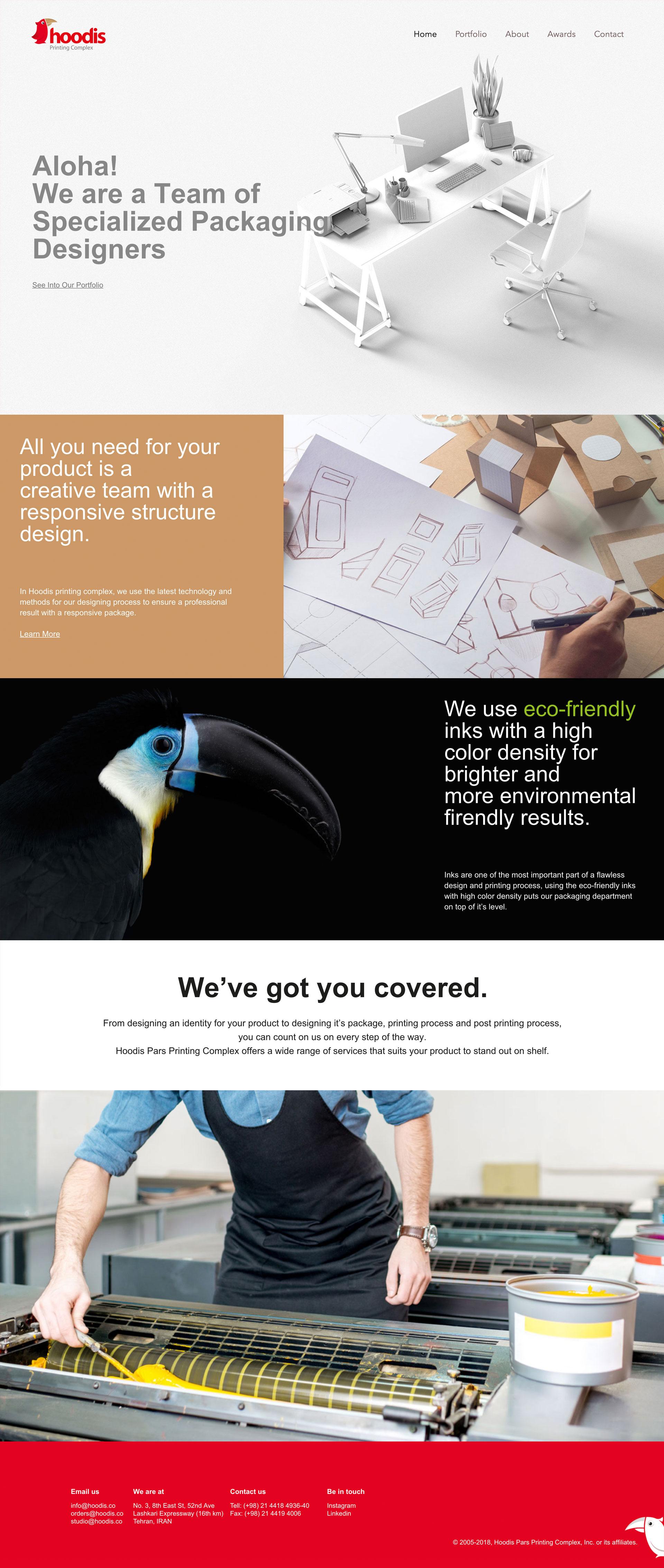 نمونه کار طراحی سایت مجتمع چاپ هودیس پارس
